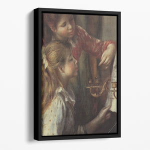 Young girls at the piano Detail by Renoir Floating Framed Canvas