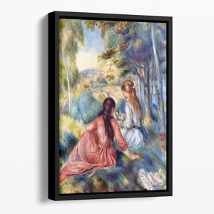 Young girls in the meadow by Renoir Floating Framed Canvas