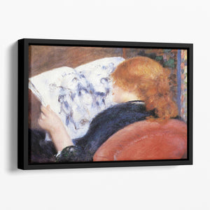 Young woman reads illustrated journal by Renoir Floating Framed Canvas