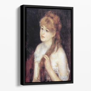 Young woman strokes her hair by Renoir Floating Framed Canvas