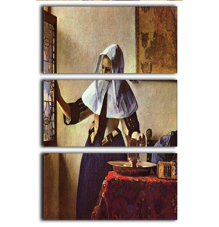 Young woman with a water jug at the window by Vermeer 3 Split Panel Canvas Print