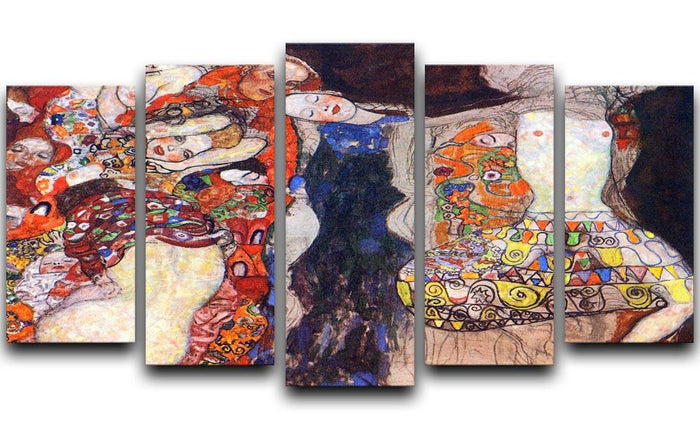 adorn the bride with veil and wreath by Klimt 5 Split Panel Canvas