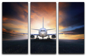 air plane preparing to take off 3 Split Panel Canvas Print - Canvas Art Rocks - 1