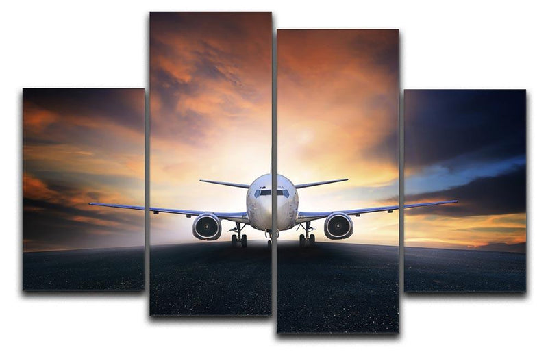 air plane preparing to take off 4 Split Panel Canvas  - Canvas Art Rocks - 1