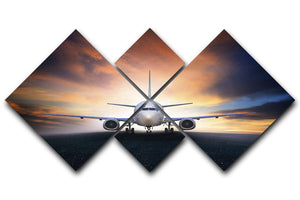 air plane preparing to take off 4 Square Multi Panel Canvas  - Canvas Art Rocks - 1