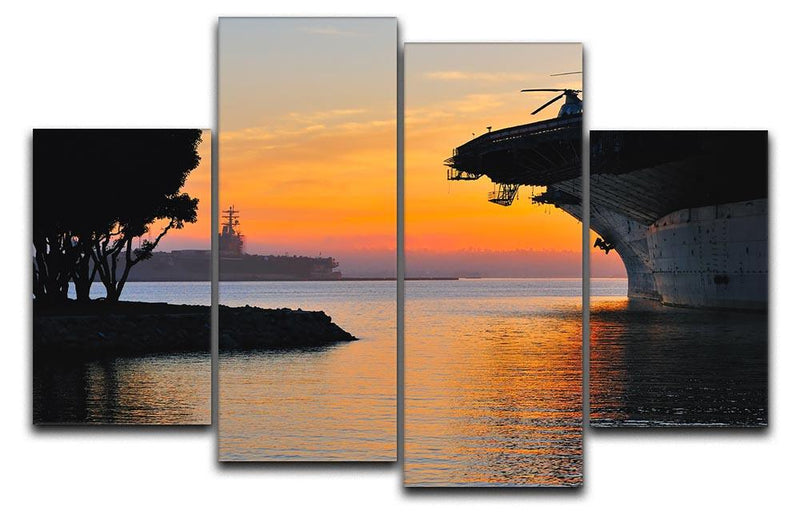 aircraft carrier in harbour in sunset 4 Split Panel Canvas  - Canvas Art Rocks - 1