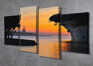 aircraft carrier in harbour in sunset 4 Split Panel Canvas  - Canvas Art Rocks - 2