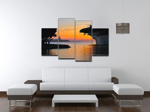aircraft carrier in harbour in sunset 4 Split Panel Canvas  - Canvas Art Rocks - 3