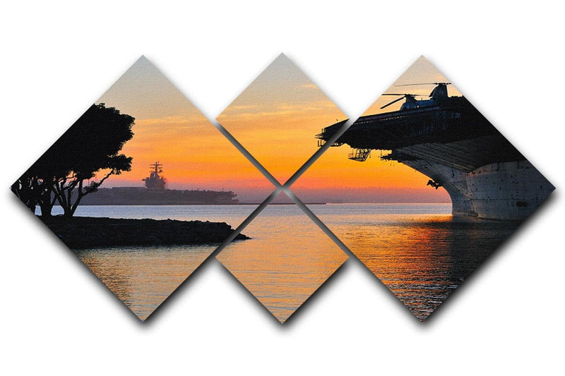 aircraft carrier in harbour in sunset 4 Square Multi Panel Canvas  - Canvas Art Rocks - 1