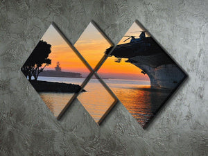 aircraft carrier in harbour in sunset 4 Square Multi Panel Canvas  - Canvas Art Rocks - 2