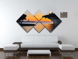 aircraft carrier in harbour in sunset 4 Square Multi Panel Canvas  - Canvas Art Rocks - 3