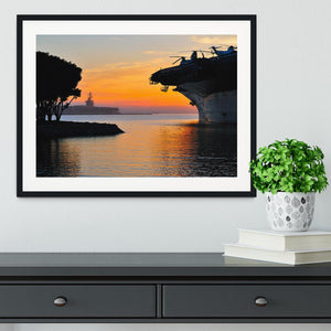 aircraft carrier in harbour in sunset Framed Print - Canvas Art Rocks - 1
