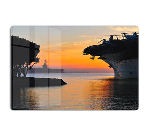 aircraft carrier in harbour in sunset HD Metal Print