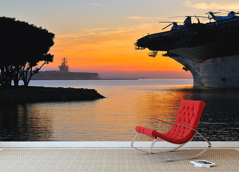 aircraft carrier in harbour in sunset Wall Mural Wallpaper - Canvas Art Rocks - 1