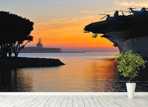 aircraft carrier in harbour in sunset Wall Mural Wallpaper - Canvas Art Rocks - 4