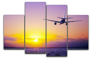 airplane in the sky over ocean 4 Split Panel Canvas  - Canvas Art Rocks - 1