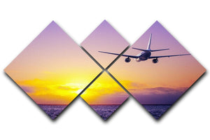 airplane in the sky over ocean 4 Square Multi Panel Canvas  - Canvas Art Rocks - 1