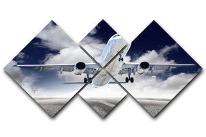 airplane take-off 4 Square Multi Panel Canvas  - Canvas Art Rocks - 1