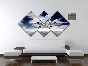 airplane take-off 4 Square Multi Panel Canvas  - Canvas Art Rocks - 3