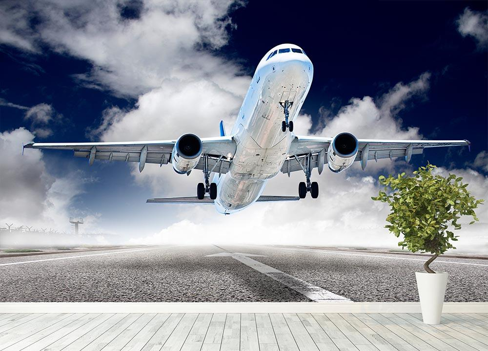... airplane take-off Wall Mural Wallpaper - Canvas Art Rocks - 4