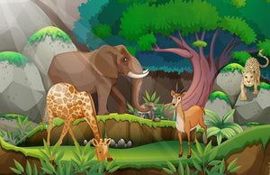 animals in the jungle Wall Mural Wallpaper - Canvas Art Rocks - 1