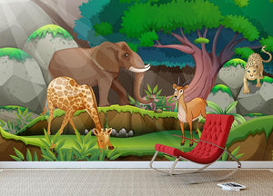 animals in the jungle Wall Mural Wallpaper - Canvas Art Rocks - 3