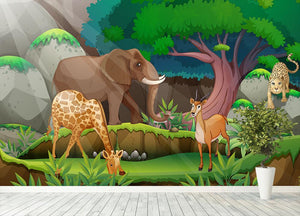 animals in the jungle Wall Mural Wallpaper - Canvas Art Rocks - 4