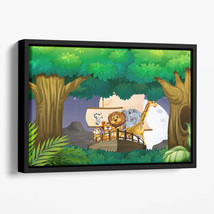 animals on boat in the jungle Floating Framed Canvas