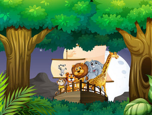 animals on boat in the jungle Wall Mural Wallpaper - Canvas Art Rocks - 1