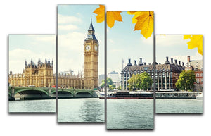 autumn leaves and Big Ben London 4 Split Panel Canvas  - Canvas Art Rocks - 1