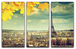 autumn leaves in Paris and Eiffel tower 3 Split Panel Canvas Print - Canvas Art Rocks - 1