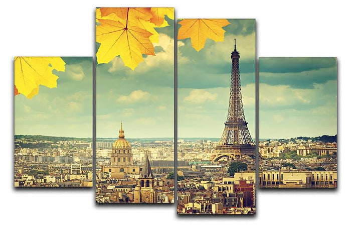 autumn leaves in Paris and Eiffel tower 4 Split Panel Canvas