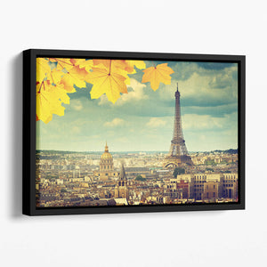 autumn leaves in Paris and Eiffel tower Floating Framed Canvas