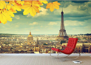 autumn leaves in Paris and Eiffel tower Wall Mural Wallpaper - Canvas Art Rocks - 2