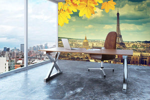 autumn leaves in Paris and Eiffel tower Wall Mural Wallpaper - Canvas Art Rocks - 3