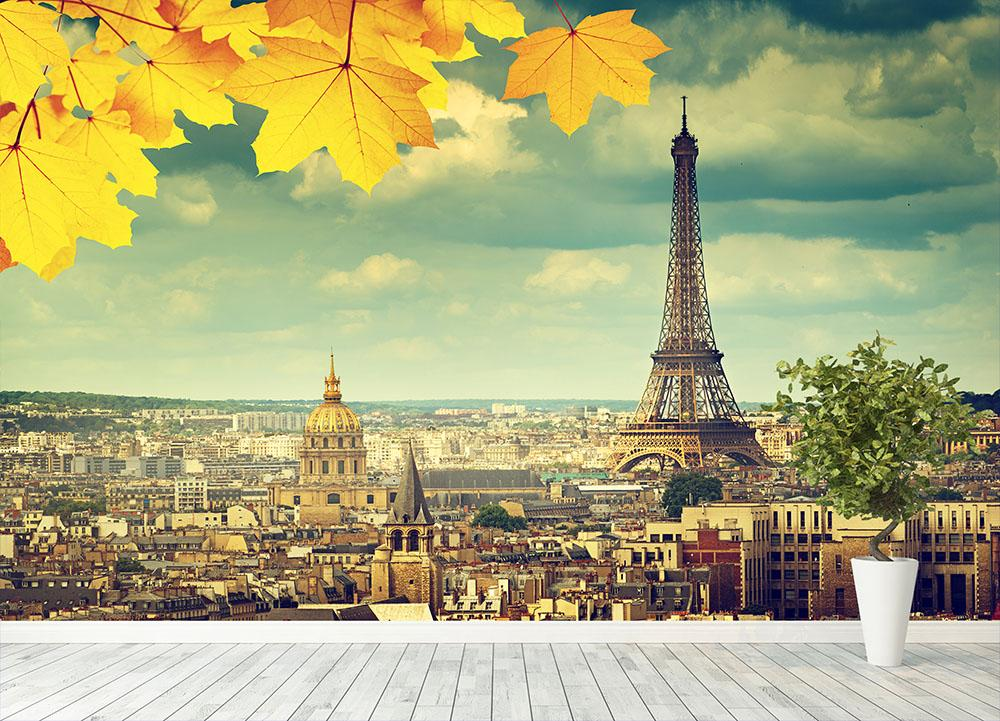 autumn leaves in Paris and Eiffel tower Wall Mural Wallpaper