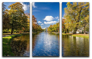 autumn park on the river 3 Split Panel Canvas Print - Canvas Art Rocks - 1