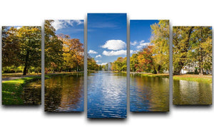 autumn park on the river 5 Split Panel Canvas  - Canvas Art Rocks - 1