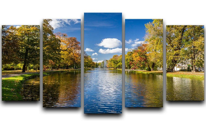 autumn park on the river 5 Split Panel Canvas