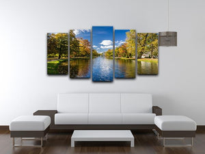 autumn park on the river 5 Split Panel Canvas  - Canvas Art Rocks - 3
