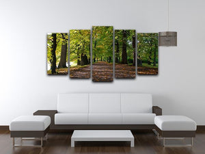 autumn road with leaves in park 5 Split Panel Canvas  - Canvas Art Rocks - 3