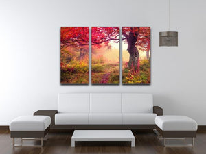 autumn trees in forest 3 Split Panel Canvas Print - Canvas Art Rocks - 3