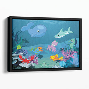 background of an underwater life Floating Framed Canvas