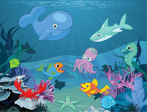 background of an underwater life Wall Mural Wallpaper - Canvas Art Rocks - 1