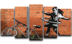 banksy Hula Hoop Girl 5 Split Panel Canvas - Canvas Art Rocks - 1