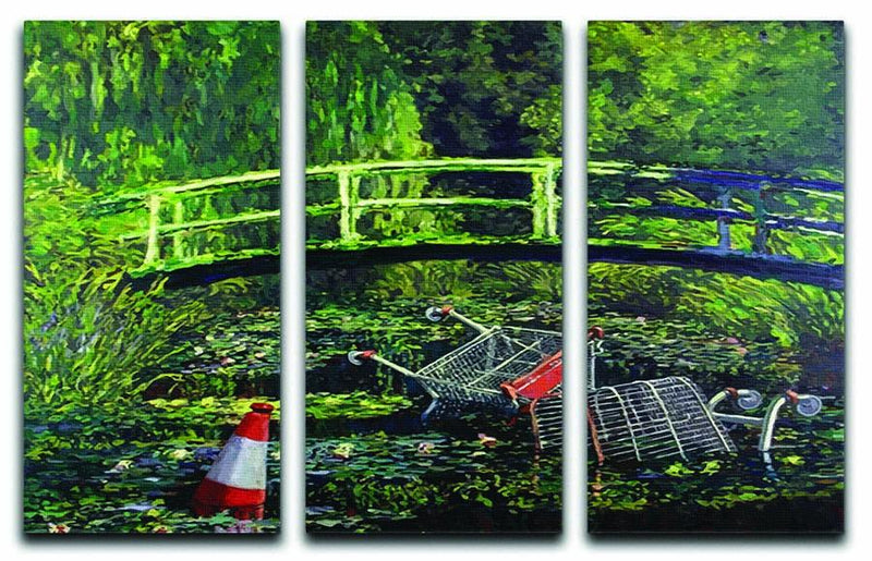banksy Water Lilies Trash 3 Split Panel Canvas Print - Canvas Art Rocks - 1