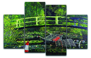 banksy Water Lilies Trash 4 Split Panel Canvas  - Canvas Art Rocks - 1