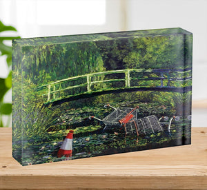 banksy Water Lilies Trash Acrylic Block - Canvas Art Rocks - 2