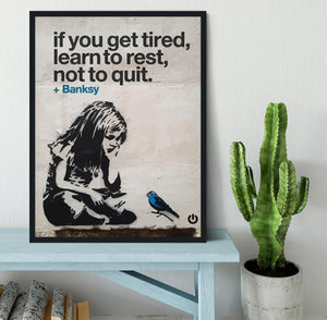 banksy if you get tired Framed Print - Canvas Art Rocks - 2
