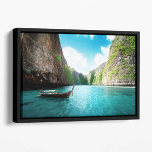 bay at Phi phi island in Thailand Floating Framed Canvas